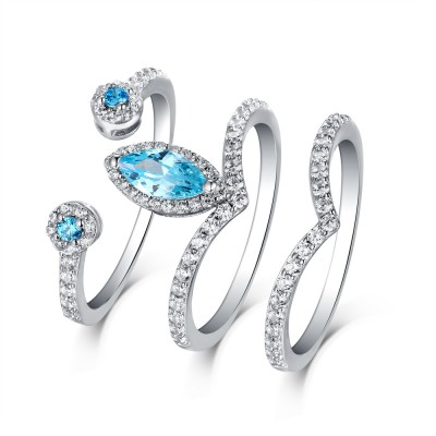 Tinnivi Sterling Sliver Marquise Cut Created Sapphire Vintage Style 3PC Wedding Ring Set
