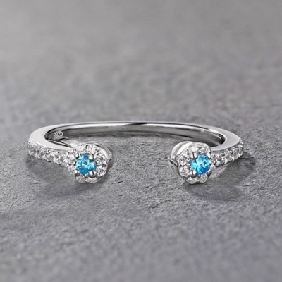 Tinnivi Sterling Silver Pave Created Blue and White Sapphire Stackable Wedding Band