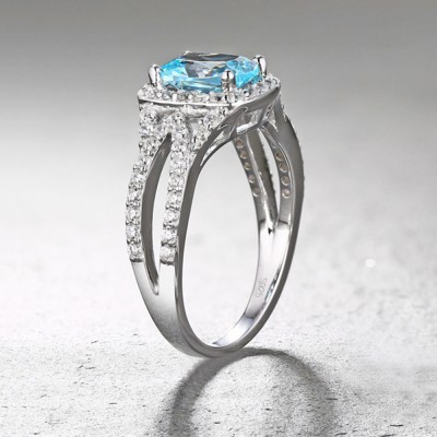 Tinnivi Sterling Silver Cushion Cut Created Aquamarine Halo Engagement Ring