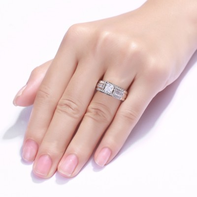 Tinnivi Sterling Silver Unique Princess Cut Created White Sapphire Halo Engagement Ring