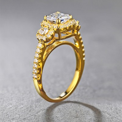 Tinnivi Gold Color Sterling Silver Cushion Cut Created White Sapphire Triple Halo Engagement Ring