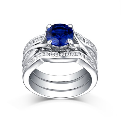 Tinnivi Vintage Style Sterling Silver Round Cut Created Sapphire 3PC Wedding Ring Set