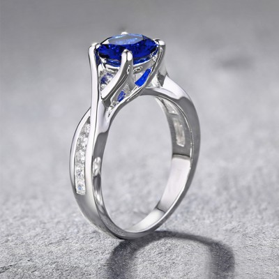 Tinnivi Sterling Silver Round Cut Created Sapphire Unique Engagement Ring