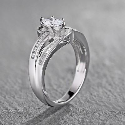 Tinnivi Sterling Silver Marquise Cut Created White Sapphire Swirling Engagement Ring