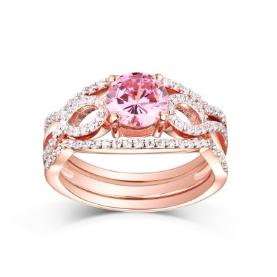 Tinnivi Rose Gold Sterling Silver Round Cut Created Pink Sapphire 3PC Wedding Ring Set