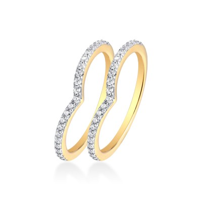 Tinnivi V Shape Created White Sapphire Gold Sterling Silver Stackable Band