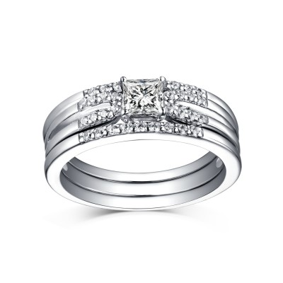 Tinnivi Sterling Silver Princess Cut Created White Sapphire 3 Piece Wedding Ring Set