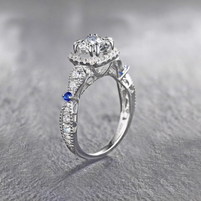Tinnivi Sterling Silver Created White Sapphire Halo Vintage Engagement Ring