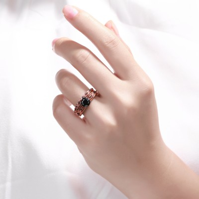 Tinnivi Sterling Silver Black Diamond Rose Gold Infinity Bridal Ring Set
