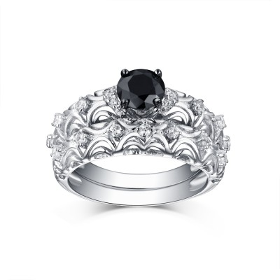 Tinnivi Vintage Style Sterling Silver Black Diamond Women's Bridal Ring Set