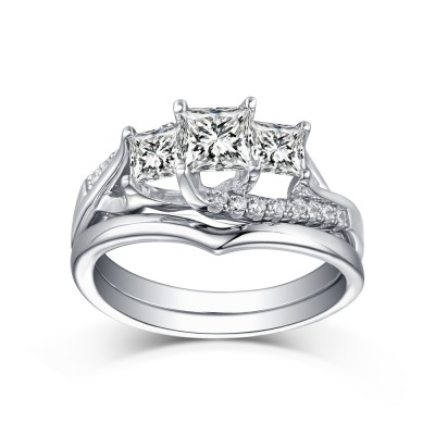 Tinnivi Sterling Sliver Princess Cut Created White Sapphire 3 Stone Women's Bridal Ring Set