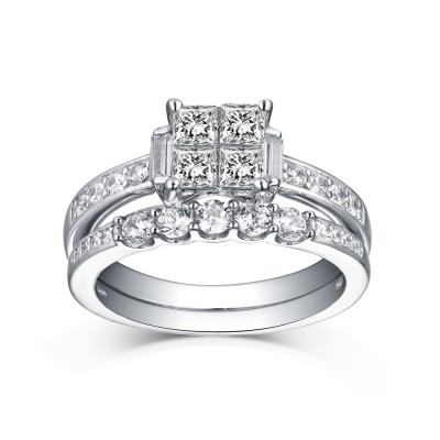 Tinnivi Sterling Silver Princess Cut Quad Created White Sapphire 2 Piece Bridal Ring Set