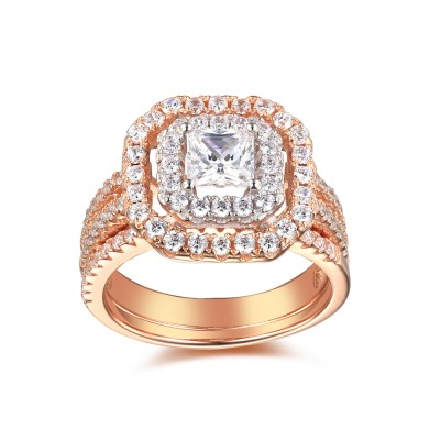 Rose Gold Color 925 Sterling Silver Princess Cut 1-1/2CT Gemstone Bridal Ring Sets