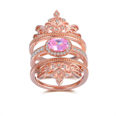 Oval Cut Pink Sapphire Rose Gold 925 Sterling Silver Women's Ring
