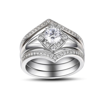 White Sapphire Round Cut 925 Sterling Silver Women's Engagement Ring