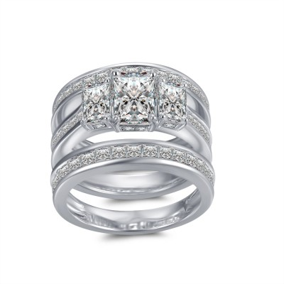 Emerald Cut White Sapphire 925 Sterling Silver Women's Ring