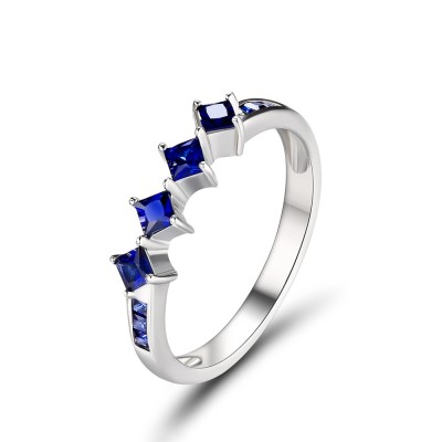 Tinnivi Rhombus Created Sapphire Sterling Silver Wedding Band