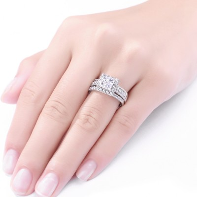 Princess Cut White Sapphire 925 Sterling Silver Engagement Women's Ring