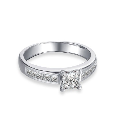Tinnivi Classic Princess Cut Created White Sapphire Sterling Silver Engagement Ring