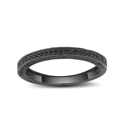 Tinnivi Black Color Sterling Silver Pave Created Black Diamond Wedding Band