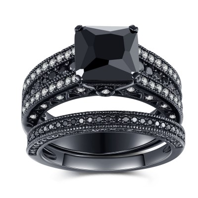 Black 925 Sterling Silver Black Princess Cut Engagement Ring