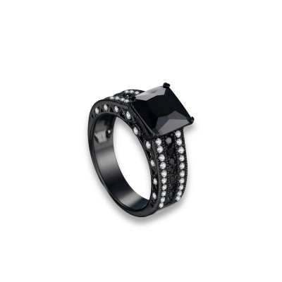 Tinnivi Gorgeous Princess Cut Created Black Diamond Black Sterling Silver Engagement Ring