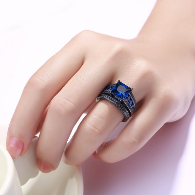 Created Tanzanite Princess Cut Black 925 Sterling Silver Engagement Ring