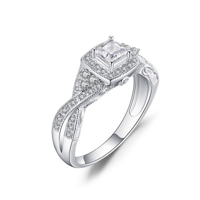 Tinnivi Twist Sterling Silver Halo Princess Cut Created White Sapphire Engagement Ring