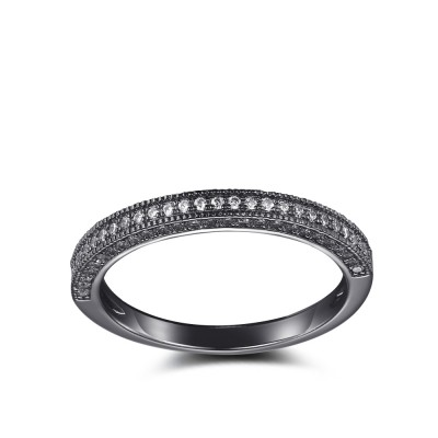 Tinnivi Created White Sapphire Black Sterling Silver Wedding Band