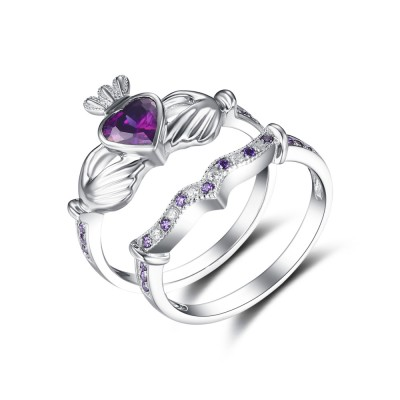 Tinnivi Streling Silver Heart Cut Created Amethyst Claddagh Ring Set