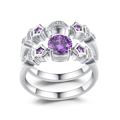 Moon and Star Amethyst Sapphire 925 Sterling Silver Women's Ring