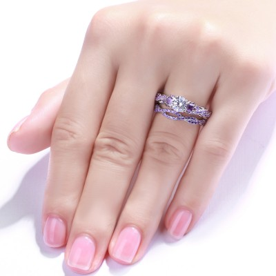 Round Cut Amethyst 925 Sterling Silver Women's Engagement Ring