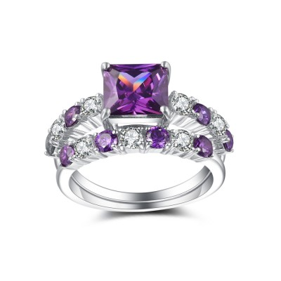 Radiant Cut Amethyst 925 Sterling Silver Engagement Ring