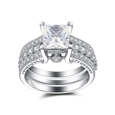 Tinnivi Amazing Princess Cut Created White Sapphire 925 Sterling Silver Wedding Ring Sets