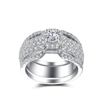Luxurious Round Cut White Sapphire Sterling Silver Women's Wedding Ring