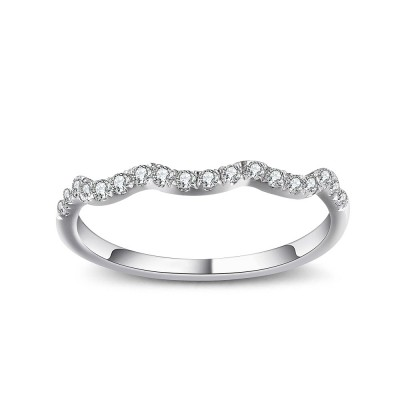 Tinnivi Wave Sterling Silver Pave Created White Sapphire Stackable Band