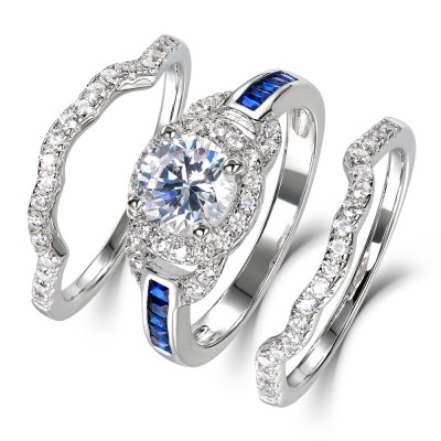 Round Cut White And Blue Sapphire 925 Sterling Silver Halo Bridal Set