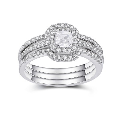 Asscher Cut White Sapphire 925 Sterling Silver Women's Bridal Ring