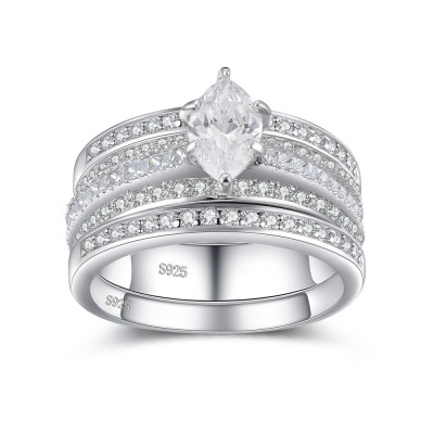 Tinnivi Marquise Cut White Sapphire Sterling Silver Women's Bridal Set Ring