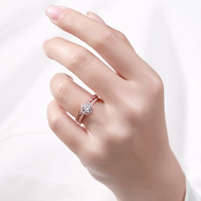 Tinnivi Rose Gold Color Round Cut White Sapphire Sterling Silver Women's Bridal Ring Sets