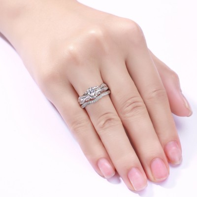 Heart Cut White Sapphire Sterling Silver Women's Wedding Bridal Set