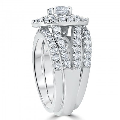 Round Cut White Sapphire 925 Sterling Silver Double Halo Bridal Set