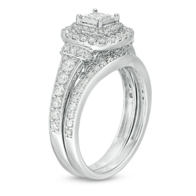 Princess Cut White Sapphire Sterling Silver Double Halo Bridal Sets