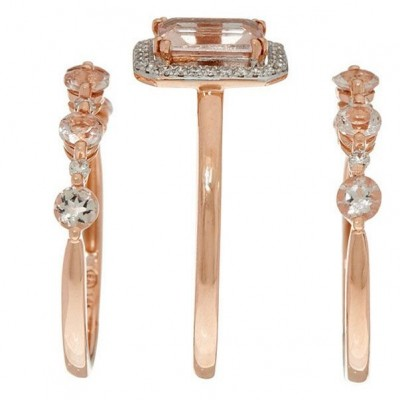 Classic Emerald Cut White Sapphire 925 Sterling Silver Three Pieces Bridal Sets with Rose Gold