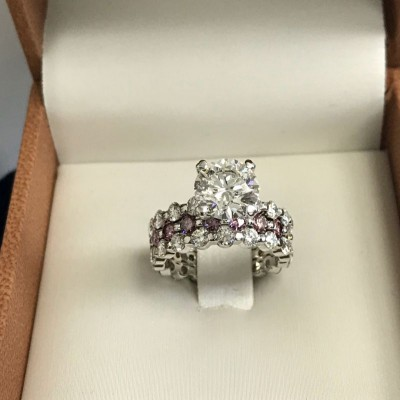 Round Cut White Sapphire 925 Sterling Silver Bridal Sets with Slide Pink Sapphire