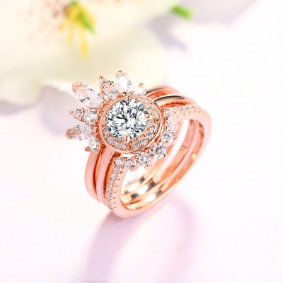 Tinnivi Unique Round Cut Created White Sapphire Rosette Wedding Ring Set