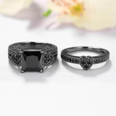 Tinnivi Princess Cut Heart Side Created Black Diamond Bridal Ring Set