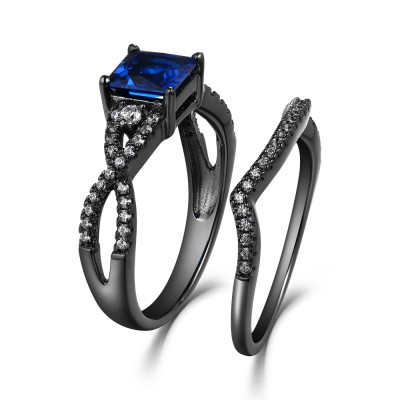 Princess Cut Sapphire 925 Sterling Silver Wedding Ring Set