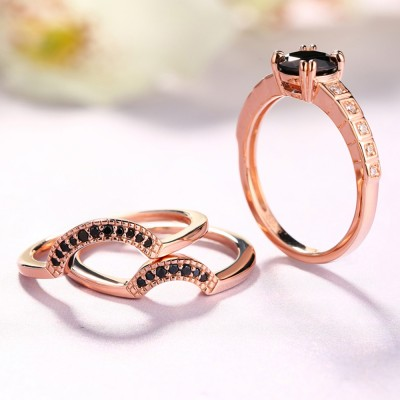 Tinnivi Rose Gold Round Cut Created Black Diamond Ring Set With Double Claw Prongs