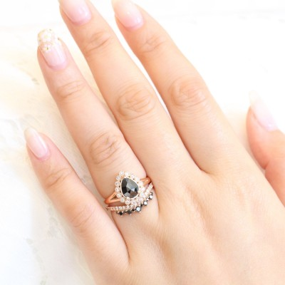 Pear Cut Black Sapphire Sterling Silver Halo Rose Gold Bridal Sets